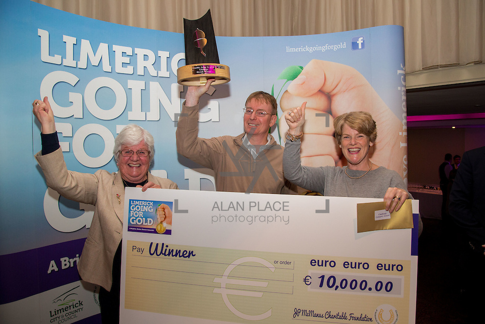 11.10.2016         <br /> The West of Limerick is awake and celebrating after Glin was announced as overall winner of Limerick Going for Gold 2016.<br />  There were jubilant celebrations in The Strand Hotel this evening (Tuesday 11 October) as the residents of the village claimed the top prize.  Pictured are Glins Sr. Mary Doody, Owen Ryan and Marie Fitzgerald. Picture: Alan Place