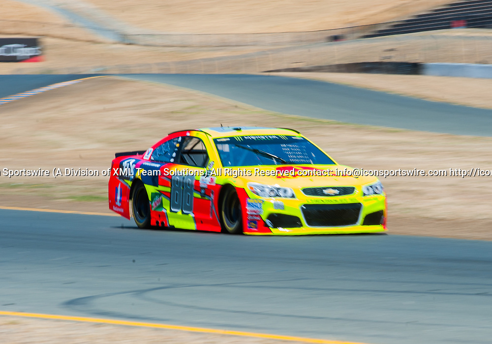SONOMA, CA - JUNE 24: Monster Energy NASCAR Cup Series driver Dale Earnhardt Jr. (88) gets the 10th pole spot  during qualifying at the NASCAR Monster Energy Cup Series- Toyota/Save Mart 350 at Sonoma Raceway  in Sonoma,CA on June 24rd, 2017 (Photo by Samuel Stringer/Icon Sportswire)