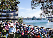 Crowds gather around Sydney Harbour during the International Fleet Review, Sydney, Australia. 5th Oct 2013