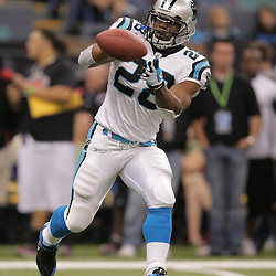 2008 December, 28: Carolina Panthers running back Jonathan Stewart (28) runs drills on the field prior to kickoff of a week 17 game between NFC South divisional rivals the Carolina Panthers and the New Orleans Saints at the Louisiana Superdome in New Orleans, LA.