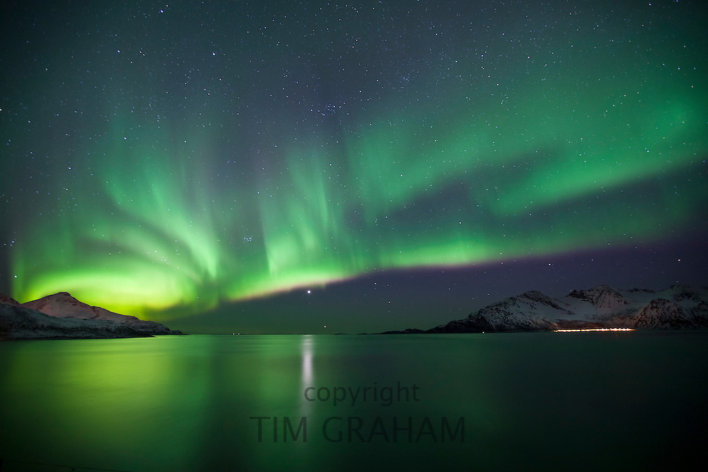 The Aurora Borealis, the spectacular Northern Lights and Venus star above Kvaloya island at Tromso by the Arctic Circle, Northern Norway