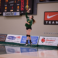 4th year middle blocker Kathleen Ens (8) of the Regina Cougars in action during Women's Volleyball home game on February 3 at Centre for Kinesiology, Health and Sport. Credit: Arthur Ward/Arthur Images