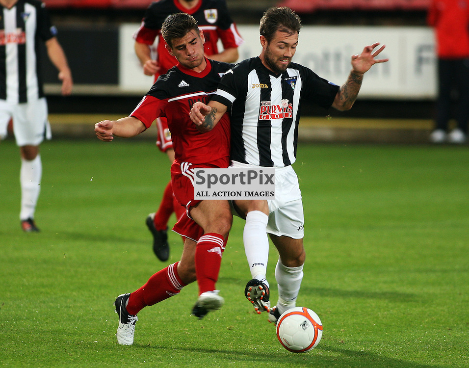 Dunfermline Athletic v Bristol City Pre-Season Friendly East End Park 1 August 2012..Jordan McMillan is challenged..(c) Craig Brown   StockPix.eu