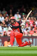 17th February 2019, Marvel Stadium, Melbourne, Australia; Australian Big Bash Cricket League Final, Melbourne Renegades versus Melbourne Stars; Tom Cooper of the Melbourne Renegades hits the ball through the on side