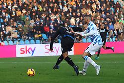 """Foto Filippo Rubin<br /> 01/12/2018 Ferrara (Italia)<br /> Sport Calcio<br /> Spal - Empoli - Campionato di calcio Serie A 2018/2019 - Stadio """"Paolo Mazza""""<br /> Nella foto: GOAL EMPOLI FRANCESCO CAPUTO (EMPOLI)<br /> <br /> Photo Filippo Rubin<br /> December 01, 2018 Ferrara (Italy)<br /> Sport Soccer<br /> Spal vs Empoli - Italian Football Championship League A 2018/2019 - """"Paolo Mazza"""" Stadium <br /> In the pic: GOAL EMPOLI FRANCESCO CAPUTO (EMPOLI)"""