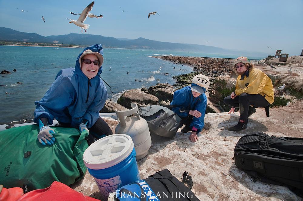 Researchers equipment ashore, Año Nuevo Island, Monterey Bay, California