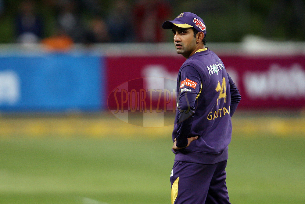 Gautam Gambhir looks at the scoreboard during match 5 of the Karbonn Smart CLT20 South Africa between Kolkata Knight Riders and Auckland Aces held at Sahara Park Newlands, South Africa on the 15th October 2012. Photo by Jacques Rossouw/SPORTZPICS/CLT20