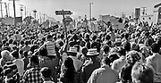 """Modesto California, May 30th 1968..""""RFK San Joaquin Daylight Special.""""--RFK came through Modesto with his wife days before he was shot.  Robert Francis """"Bobby"""" Kennedy (November 20, 1925 - June 6, 1968), also called RFK, was the United States Attorney General from 1961 to 1964 and a US Senator from New York from 1965 until his assassination in 1968. He was one of US President John F. Kennedy's younger brothers, and also one of his most trusted advisors and worked closely with the president during the Cuban Missile Crisis. He also made a significant contribution to the African-American Civil Rights Movement. .Photo by Al GOLUB/Golub Photography."""