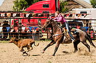 Bre Elle Wacker, competes in calf roping, Ingomar Montana, annual rodeo