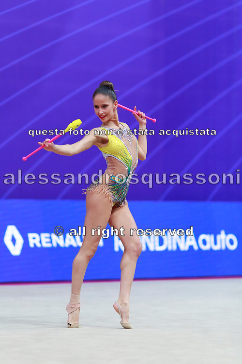 Vladinova Neviana during final at clubs in Pesaro World Cup at Adriatic Arena on April 15, 2018. Neviana was born on February 23,1994 in Pleven, Bulgaria. Her dream is to win a medal at the 2020 Olympic Games in Tokyo.