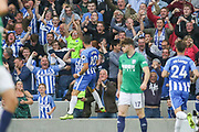 Brighton and Hove Albion forward Tomer Hemed (10) celebrates in front of fans after his goal 3-0 during the Premier League match between Brighton and Hove Albion and West Bromwich Albion at the American Express Community Stadium, Brighton and Hove, England on 9 September 2017. Photo by Phil Duncan.