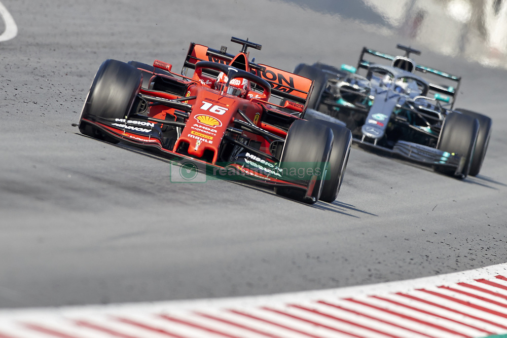 February 28, 2019 - Spain - Charles Leclerc (Scuderia Ferrari Mission Winnow) SF90 car and Valtteri Bottas (Mercedes AMG Petronas Motosport) W10 car are seen in action during the winter testing days at the Circuit de Catalunya in Montmelo  (Credit Image: © Fernando Pidal/SOPA Images via ZUMA Wire)