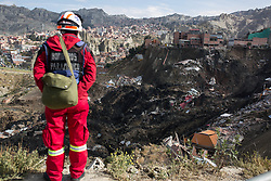 April 30, 2019 - La Paz, Bolívia - LA PAZ, LP - 30.04.2019: LANDSLIDE IN LA PAZ - A firefighter looks at the collapse in La Paz Bolivia, where at least 17 houses were destroyed. (Credit Image: © Gaston Brito/Fotoarena via ZUMA Press)