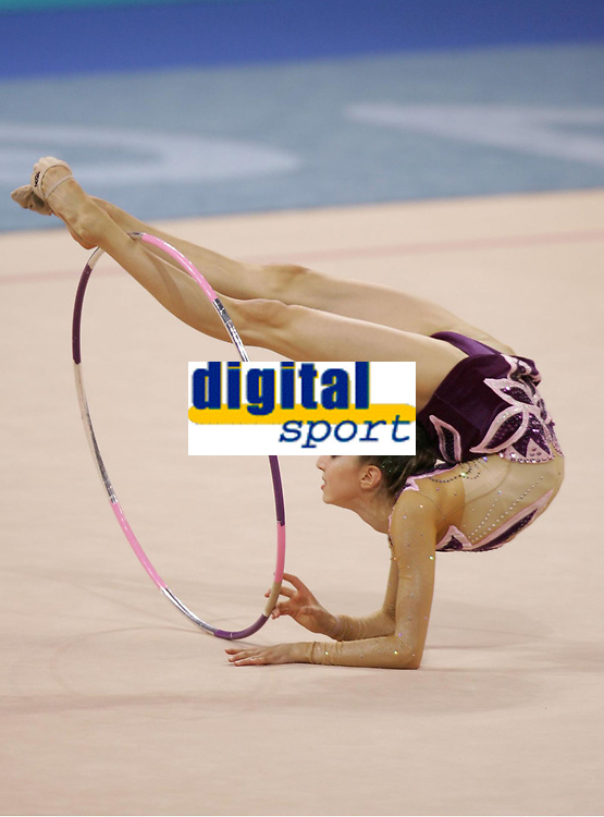 OL 2004 Athen<br /> Foto: Witters/Digitalsport<br /> NORWAY ONLY<br /> <br /> RS / Rytmisk Sportsgymnastikk<br /> <br /> Anna Bossonova Ukraina<br /> Olympia 2004 Rhythmische Sportgymnastik