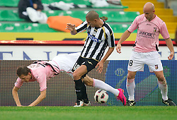 Josip Ilicic of Palermo and Gokhan Inler of Udinese during football match between Udinese Calcio and Palermo in 8th Round of Italian Seria A league, on October 24, 2010 at Stadium Friuli, Udine, Italy.  Udinese defeated Palermo 2 - 1. (Photo By Vid Ponikvar / Sportida.com)