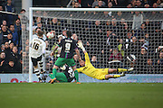 Fulham attacker, Cauley Woodrow (16) missing a good chance during the Sky Bet Championship match between Fulham and Bristol City at Craven Cottage, London, England on 12 March 2016. Photo by Matthew Redman.