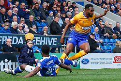 Ian Evatt of Chesterfield sticks a leg out to make foul on Kane Hemmings of Mansfield Town - Mandatory by-line: Ryan Crockett/JMP - 14/04/2018 - FOOTBALL - Proact Stadium - Chesterfield, England - Chesterfield v Mansfield Town - Sky Bet League Two/m23