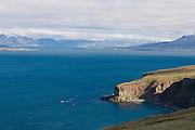 Coast landscape with blue lagoon. Eyjafjördur. Iceland.
