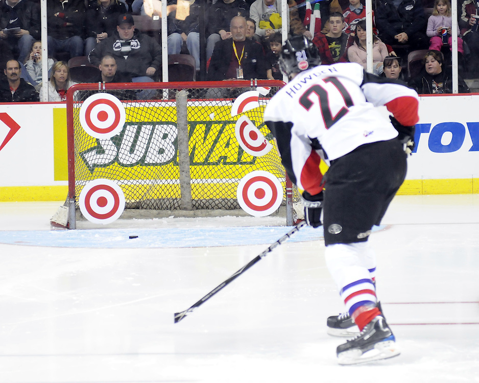 Quinton Howden of the Moose Jaw Warriors in the Home Hardware CHL Top Prospects Skills Competition in Windsor, ON on Tuesday. Photo by Aaron Bell/OHL Images.