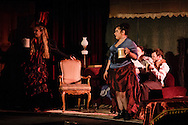 "Middletown, New York - The SUNY Orange Apprentice Players perform during a rehearsal of ""Lux in Tenebris""  by Bertolt Brecht at Orange Hall Theatre on the College's Middletown campus on April 13, 2016."