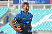 Charlie Hartley (Kent) is dismissed during the Royal London 1 Day Cup match between Surrey County Cricket Club and Kent County Cricket Club at the Kia Oval, Kennington, United Kingdom on 12 May 2017. Photo by Jon Bromley.
