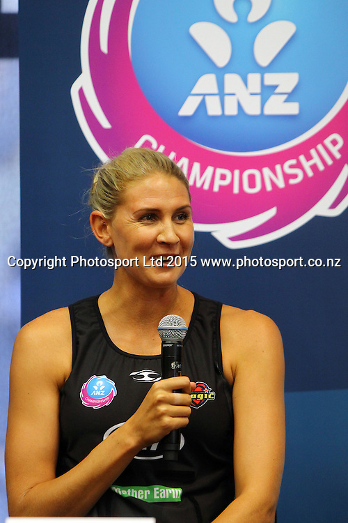 Casey Kopua, Kia Magic captain, ANZ Championship netball season launch, ANZ Building, Auckland. Tuesday 17 February 2015. Copyright Photo: William Booth / www.photosport.co.nz