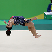 Gymnastics - Olympics: Day 2  Lauren Hernandez #393 of the United States performing her Floor routine during the Artistic Gymnastics Women's Team Qualification round at the Rio Olympic Arena on August 7, 2016 in Rio de Janeiro, Brazil. (Photo by Tim Clayton/Corbis via Getty Images)