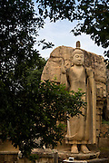 Aukana Buddha. The rock cut statue stands 39 feet above its decorated lotus plinth and 10 feet across the shoulders.