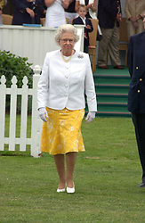 HM THE QUEEN ELIZABETH 11 at the Queen's Cup polo final sponsored by Cartier at Guards Polo Club, Smith's Lawn, Windsor Great Park on 18th June 2006.  The Final was between Dubai and the Broncos polo teams with Dubai winning.<br />