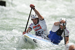 30.06.2013, Eiskanal, Augsburg, GER, ICF Kanuslalom Weltcup, Finale Kanu-Zweier Teams, Maenner. im Bild Pierre PICCO (vorne) und Hugo BISO (hinten) aus Frankreich, Finale, Team, Kanu, Canoe, C2, Teams, Herren, Frankreich // during the final of canoe double of the men kayak team of ICF Canoe Slalom World Cup at the ice track, Augsburg, Germany on 2013/06/30. EXPA Pictures © 2013, PhotoCredit: EXPA/ Eibner/ Matthias Merz<br /> <br /> ***** ATTENTION - OUT OF GER *****