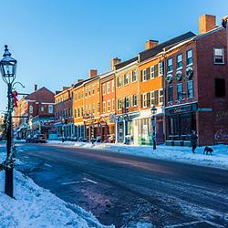State Street after a winter storm in downtown Newburyport, Massachusetts.