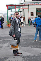03/08/2012. After a tough week at the Galway Races Irish Examiner reporter Conal has taken to holding handbags! Photo:Andrew Downes..