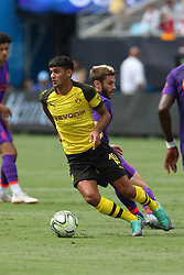 July 22, 2018 - Charlotte, NC, U.S. - CHARLOTTE, NC - JULY 22: Mahmoud Dahoud (19) of Borussia Dortmund with the ball during the International Champions Cup soccer match between Liverpool FC and Borussia Dortmund in Charlotte, N.C. on July 22, 2018.  (Photo by John Byrum/Icon Sportswire) (Credit Image: © John Byrum/Icon SMI via ZUMA Press)