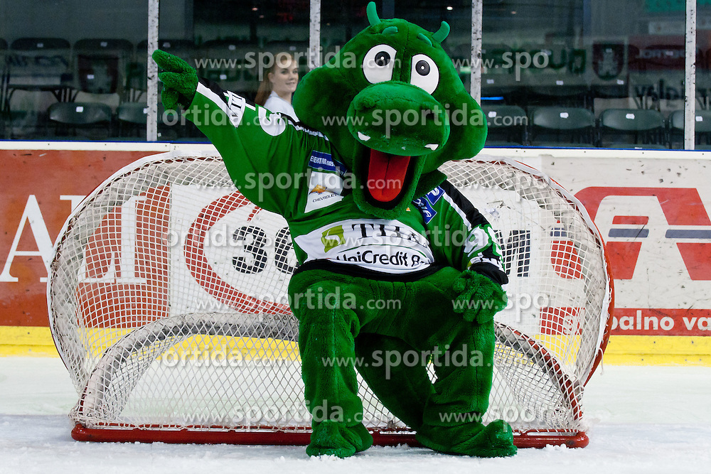 Official mascot dragon Hoki during ice-hockey match between HDD Tilia Olimpija and UPC Vienna Capitals in 31st Round of EBEL league, on December 11, 2011 at Hala Tivoli, Ljubljana, Slovenia. HDD Tilia Olimpija defeated UPC Vienna Capitals 4:0. (Photo By Matic Klansek Velej / Sportida)