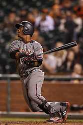 SAN FRANCISCO, CA - APRIL 18:  Jean Segura #2 of the Arizona Diamondbacks hits an RBI single against the San Francisco Giants during the eleventh inning at AT&T Park on April 18, 2016 in San Francisco, California. The Arizona Diamondbacks defeated the San Francisco Giants 9-7 in 11 innings.  (Photo by Jason O. Watson/Getty Images) *** Local Caption *** Jean Segura