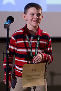 Samuel Fleming of Riverside Elementary School introduces himself during the Southeastern Ohio Regional Spelling Bee Regional Saturday, March 16, 2013. The Regional Spelling Bee was sponsored by Ohio University's Scripps College of Communication and held in Margaret M. Walter Hall on OU's main campus.