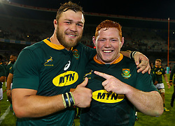 Duane Vermeulen of South Africa with Steven Kitshoff of South Africa - Mandatory by-line: Steve Haag/JMP - 16/06/2018 - RUGBY - Toyota Stadium - Bloemfontein, South Africa - South Africa v England Second Test, South Africa Tour