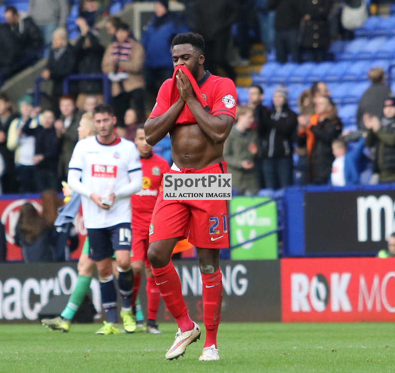 Blackburn's Hope Akpan looking dejected after the final whistle ..... Bolton Wanderers FC v Blackburn Rovers FC Sky Bet Championship 28th December 2015 (c) EDDIE LINTON | SportPix.org.uk