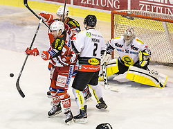 03.03.2015, Stadthalle, Klagenfurt, AUT, EBEL, EC KAC vs Dornbirner Eishockey Club, Qualifikationsrunde, im Bild Patrick Harand (EC KAC, #16), Jean-Francoir Jacques (EC KAC, #39), Olivier Magnan (Dornbirner Eishockey Club, #2), Nathan Lawson (Dornbirner Eishockey Club, #52) // during the Erste Bank Icehockey League qualification round match betweeen EC KAC and Dornbirner Eishockey Club at the City Hall in Klagenfurt, Austria on 2015/03/03. EXPA Pictures © 2015, PhotoCredit: EXPA/ Gert Steinthaler
