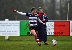 Lucy Attwood of Bristol Ladies kicks a conversion ball - Mandatory by-line: Paul Knight/JMP - 03/02/2018 - RUGBY - Cleve RFC - Bristol, England - Bristol Ladies v Harlequins Ladies - Tyrrells Premier 15s