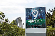 Goonhilly Earth station sign, Lizard peninsula, Cornwall, England, UK - with 'Arthur' the world's first parabolic satellite communications antenna 1962
