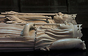 Effigies of Charles VI the Mad, 1368-1422, king of France 1380-1422, and his wife Isabeau de Baviere, 1371-1435, queen of France, who commissioned the tomb, made by Pierre de Thoiry c. 1424 and completed 1429, in the Basilique Saint-Denis, Paris, France. The basilica is a large medieval 12th century Gothic abbey church and burial site of French kings from 10th - 18th centuries. Picture by Manuel Cohen