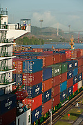 Containers in cargo ship at Miraflores Locks. Panama Canal, Panama City, Panama, Central America.