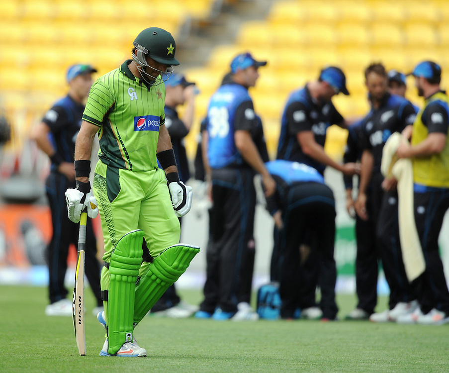 Pakistan's Misbah-ul-Haq out for 58 to New Zealand's Grant Elliott in the 1st One Day International cricket match at Westpac Stadium, New Zealand, Saturday, January 31, 2015. Credit:SNPA / Ross Setford