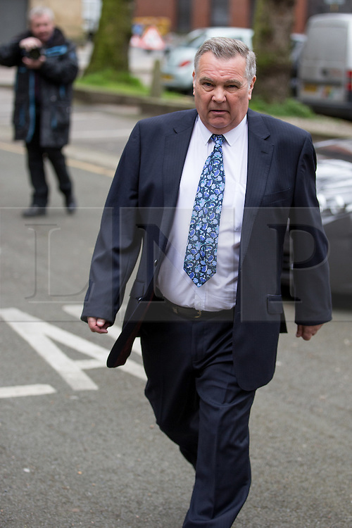 © Licensed to London News Pictures . 17/04/2014 . Manchester , UK . ALAN LEDGER leaves following a plea and case management hearing at Minshull Street Crown Court , Manchester , today (17th April 2014) . He is charged alongside Ray Teret and William Harper with historic sex offences . Photo credit : Joel Goodman/LNP