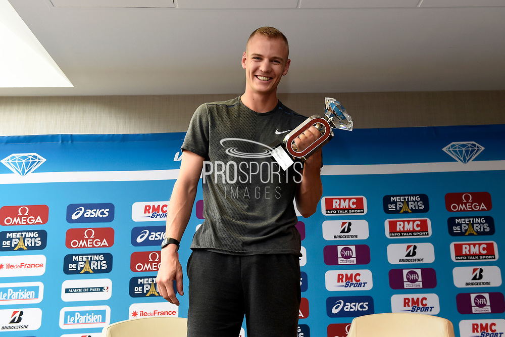 Sam Kendricks (USA) during press conference of Meeting de Paris 2018, Diamond League, at Hotel Marriott, in Paris, France, on June 29, 2018 - Photo Jean-Marie Hervio / KMSP / ProSportsImages / DPPI