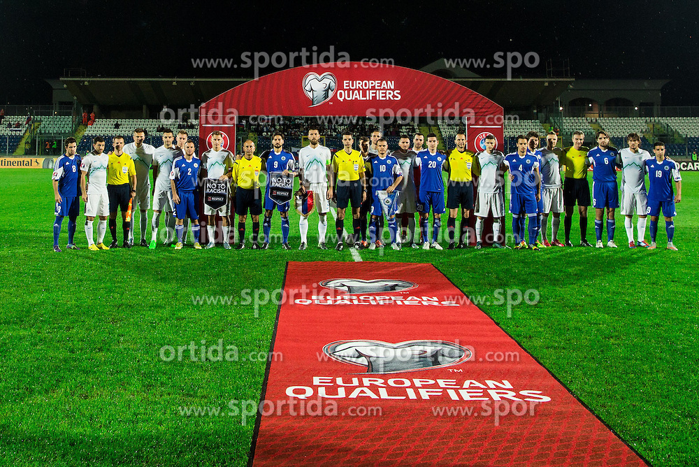 Group photo of all players during football match between National teams of San Marino and Slovenia in Group E of EURO 2016 Qualifications, on October 12, 2015 in Stadio Olimpico Serravalle, Republic of San Marino. Photo by Vid Ponikvar / Sportida