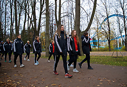 SAINT PETERSBURG, RUSSIA - Tuesday, October 24, 2017: Wales' Chloe Lloyd, Chloe Chivers and Amina Vine during a pre-match walk ahead of the FIFA Women's World Cup 2019 Qualifying Group 1 match between Russia and Wales. (Pic by David Rawcliffe/Propaganda)