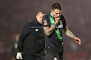 Stoke City forward Joselu feels a blow to the face during the The FA Cup third round match between Doncaster Rovers and Stoke City at the Keepmoat Stadium, Doncaster, England on 9 January 2016. Photo by Simon Davies.