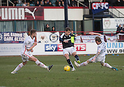 Inverness&rsquo; Daniel Devine and Carl Tremarco can't stop Dundee&rsquo;s Greg Stewart firing in a shot - Dundee v Inverness Caledonian Thistle - Ladbrokes Scottish Premiership at Dens Park<br /> <br />  - &copy; David Young - www.davidyoungphoto.co.uk - email: davidyoungphoto@gmail.com